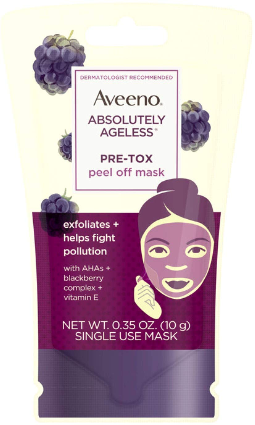 AVEENO Absolutely Ageless Pre-Tox Peel Off Antioxidant Face Mask with Alpha Hydroxy Acids, Vitamin E & Blackberry Complex, Non-Comedogenic, Single Use 0.35 oz
