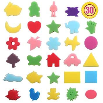 purture 30pcs sponge painting shapes painting craft sponge for toddlers assorted pattern early learning sponge for