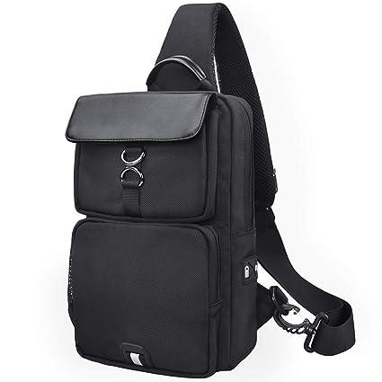 NUBILY Bolso Bandolera Impermeable Bolsos Mochila con USB y Orificio para Auriculares para Hombre y Mujere Negro Bolso Pecho Deportes Trabajo Casual ...