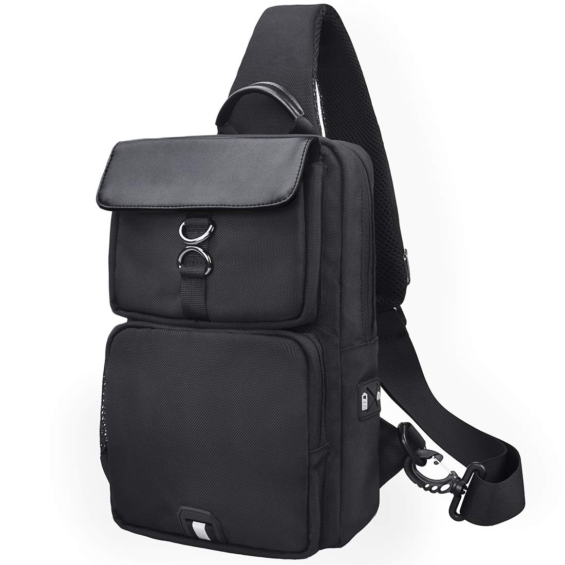 b3385413327d Nubily Sling Bag Chest Shoulder Backpack USB Earphone Crossbody Bag  Lightweight Sport Hiking Travel Camping Gym Daypack Men Women