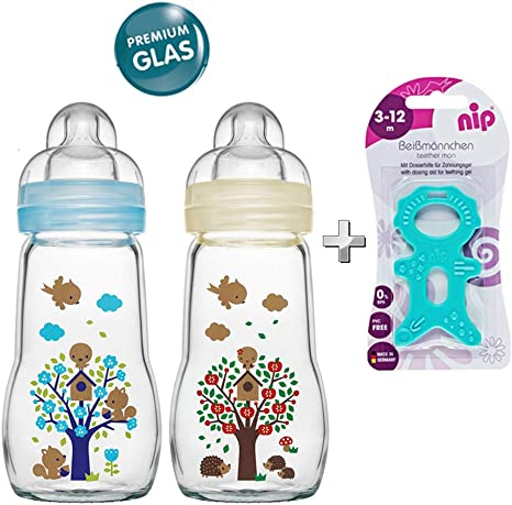 2/Stk. Mam Cristal Botella Cristal Feel Good Glass Bottle Neutral 260/ml botella de cristal con aspiradora tama/ño 1/a partir de nacimiento