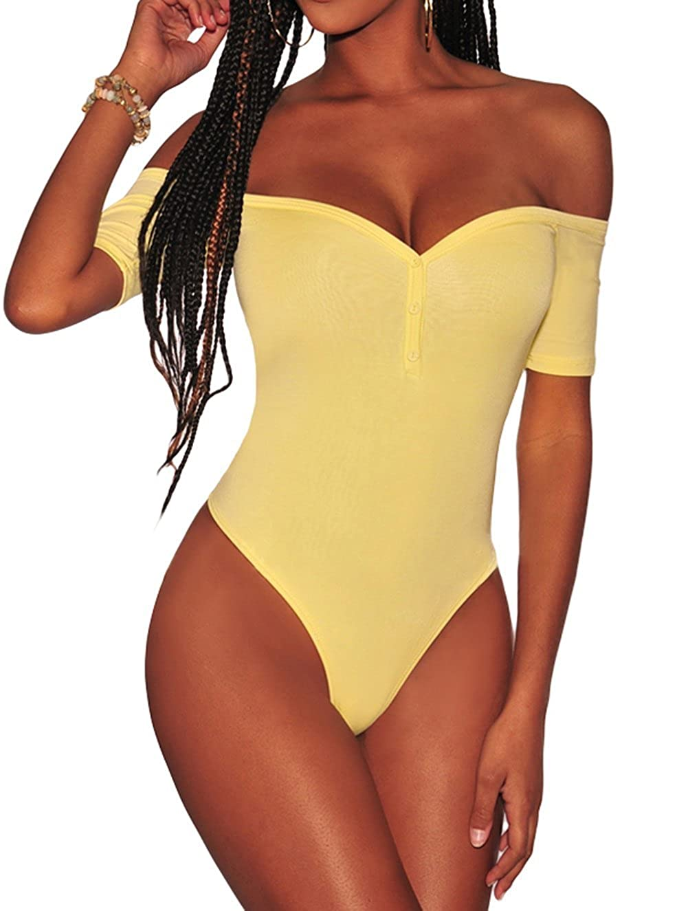 d1e02be442 Shawhuwa Womens Sexy Off Shoulder Leotard Bodysuit Clubwear Romper at  Amazon Women s Clothing store