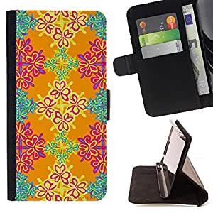 DEVIL CASE - FOR Samsung Galaxy S3 III I9300 - Wallpaper Floral Orange Pink Turquoise - Style PU Leather Case Wallet Flip Stand Flap Closure Cover