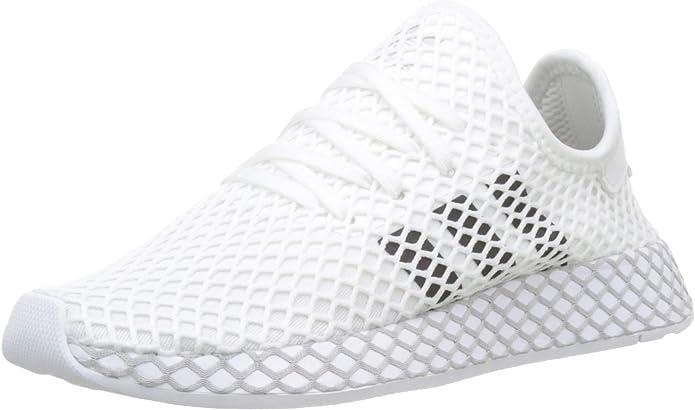 adidas Deerupt Runner Sneakers Fitnessschuhe Damen Herren Unisex Weiß m. schwarzen Streifen Größe 35 1/2 bis 40