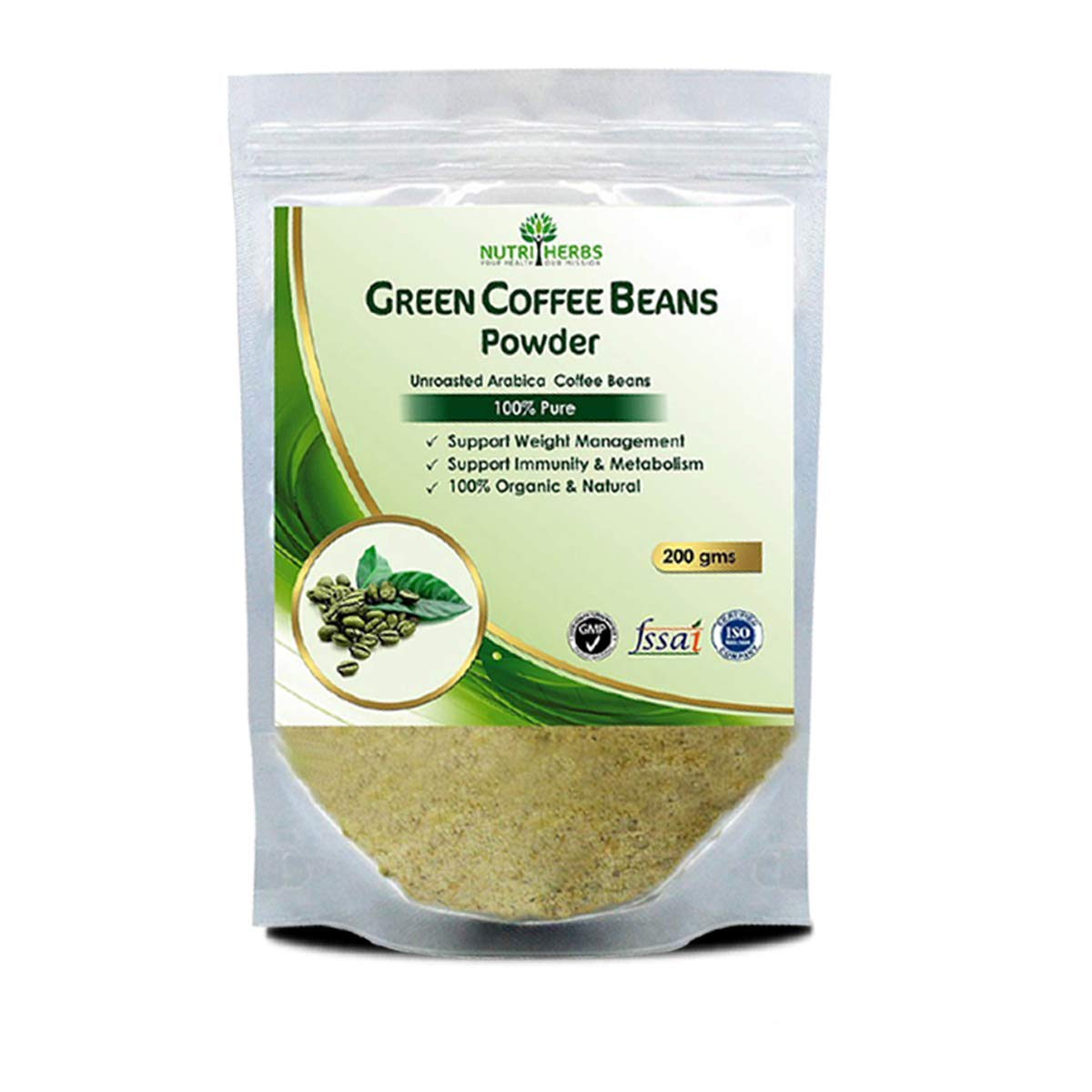 Nutriherbs 100 Pure And Natural Green Coffee Beans Powder 200gm