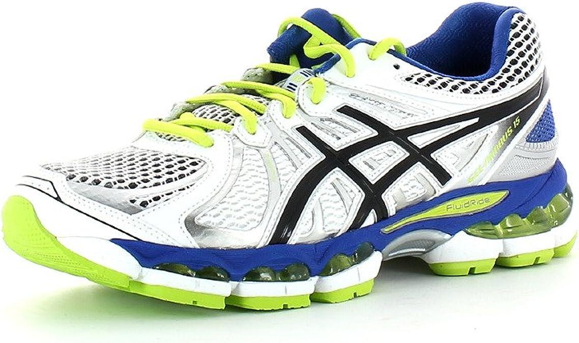 Asics Gel Nimbus 15 - Zapatillas de Running para Hombre, Color Blanco/Negro/Verde, Talla 44: Amazon.es: Zapatos y complementos