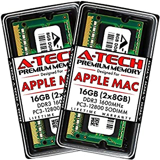 A-Tech 16GB Kit (2x8GB) DDR3 1600MHz SODIMM PC3-12800 RAM for Apple MacBook Pro (Mid 2012), iMac (Late 2012, Early/Late 2013, Late 2014 5K, Mid 2015 5K), Mac Mini (Late 2012)