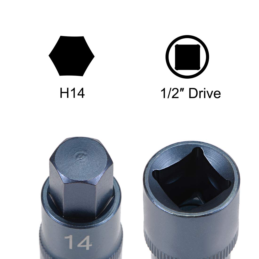 sourcing map 1//2-Inch Drive H5 Hex Bit Socket S2 Steel Bluing 55mm Length 2 Pcs