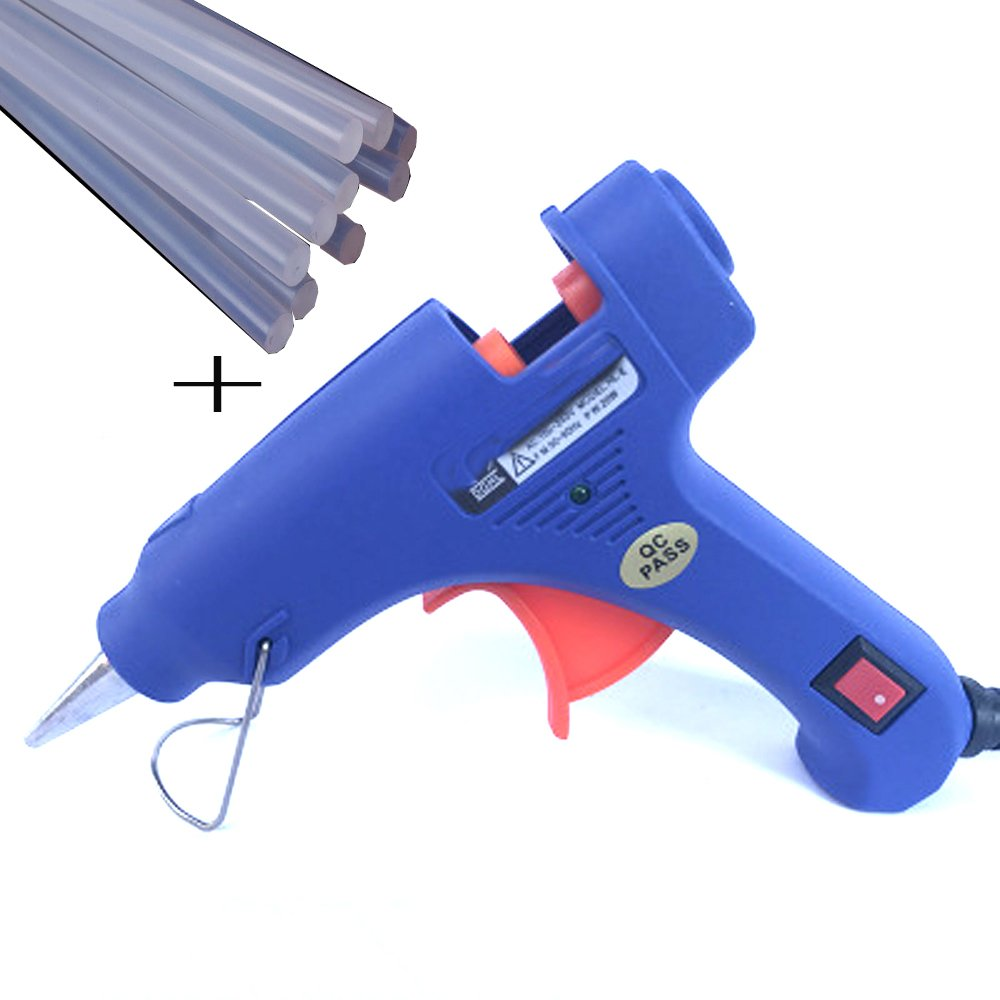 Mini Hot Melt Glue Gun with 10 pcs Glue Sticks High Temperature Melting Glue Gun Kit Flexible Trigger for DIY Small Craft Projects&Sealing and Quick Repairs(20-watt, Blue)