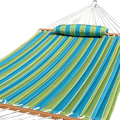 Prime Garden Quilted Fabric Hammock with Pillow, Hardwood Spreader Bars, 2 People, Teal Stripe (Halloween In Australia)