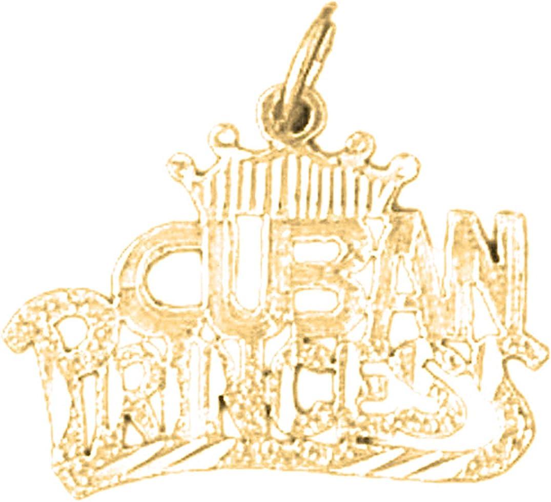 14K Yellow Gold-plated 925 Silver Cuban Princess Pendant Jewels Obsession Silver Cuban Princess Pendant
