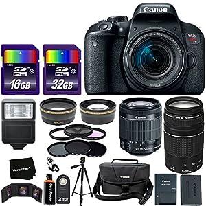 "Canon EOS Rebel T7i Digital SLR Camera International Version + 18-55mm ""STM"" Lens + 75-300mm III Zoom Lens + Telephoto & Wide Lenses + Canon Case + Flash + ND & UV Filter Set + 48GB SD Memory + Tripod"