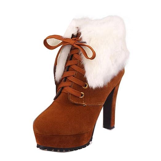 Women's Faux Fur Winter Mid Calf High Heel Platform Boots