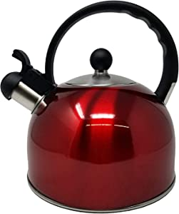 2.5 Liter Whistling Tea Kettle - Modern Stainless Steel Whistling Tea Pot for Stovetop with Cool Grip Ergonomic Handle - Black or Stainless Steel (Red)