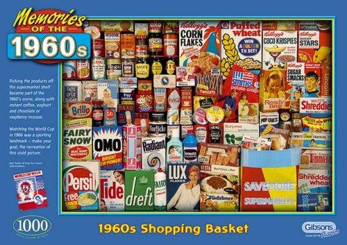 Gibsons 1960's Shopping Basket 1000 Piece - Basket Gibson
