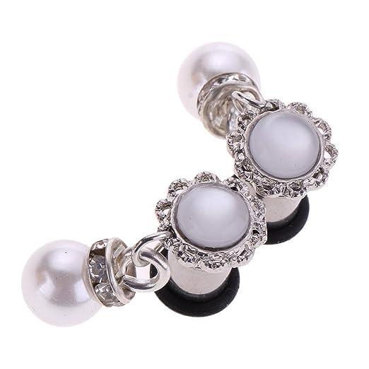 D DOLITY 1 Par Dilatador Dilatación Piercing Orejas, 7 Tamaños Colgantes Perlas simuladas, 6 mm
