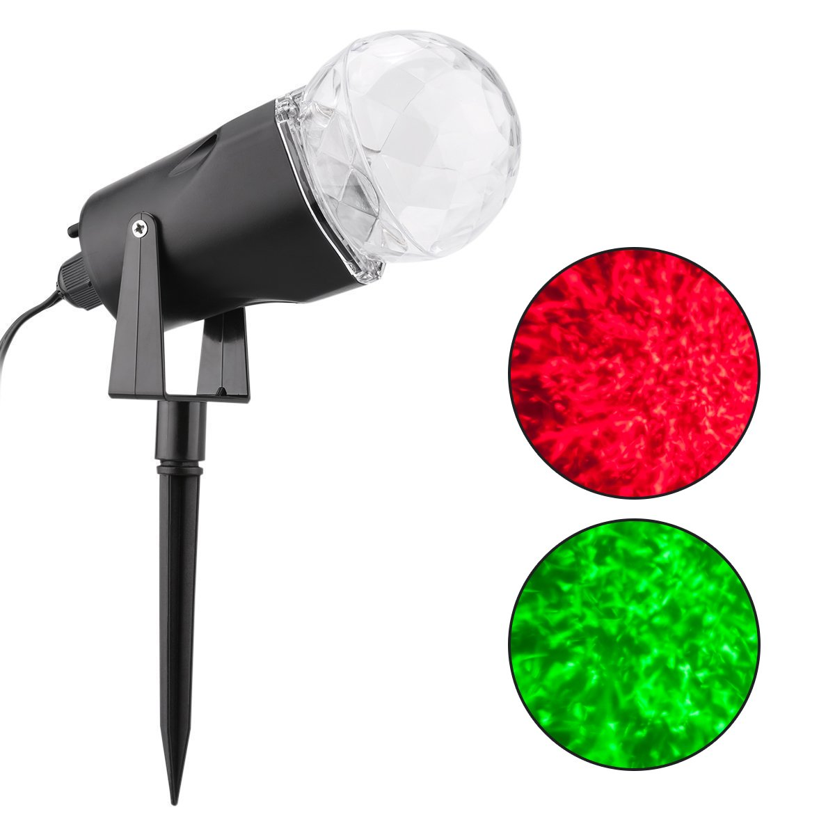 WED Waterproof Spotlight Rotating Led Projector Light with Flame Lightings for Indoor Outdoor Christmas Festival Decorations for Home, Garden, Landscape (Red & Green)
