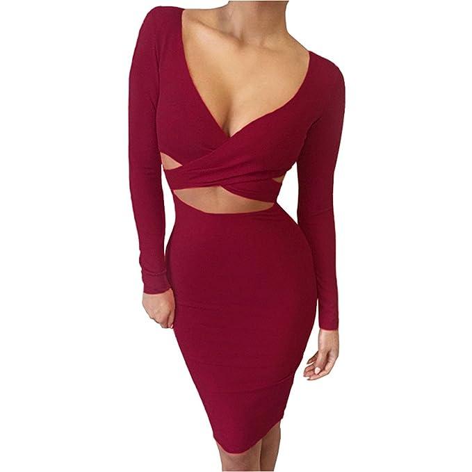 Thytas Elastic Cotton Party Dresses Vestidos Sexy Midi Pencil Club Bodycon Bandage Dress Burgundy S