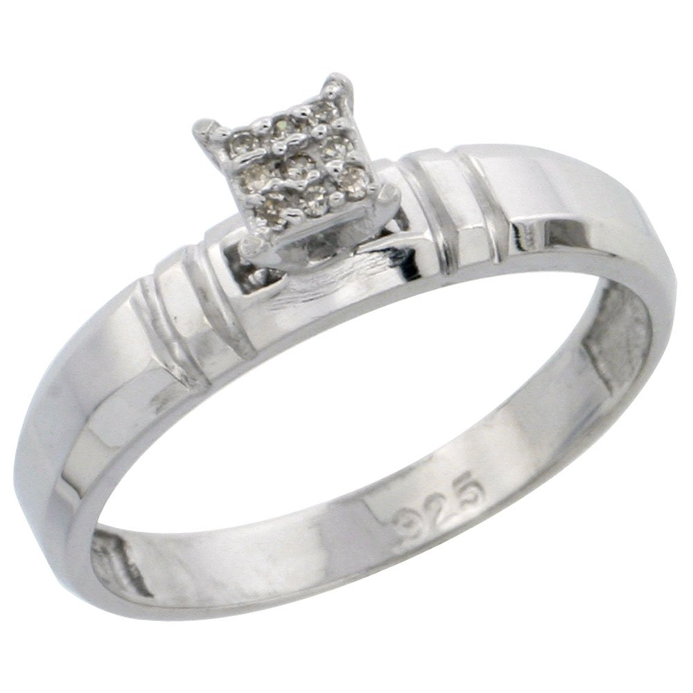 w// 0.05 Carat Brilliant Cut Diamonds wide 5//32 in. Sterling Silver Diamond Engagement Ring 4mm Size 9