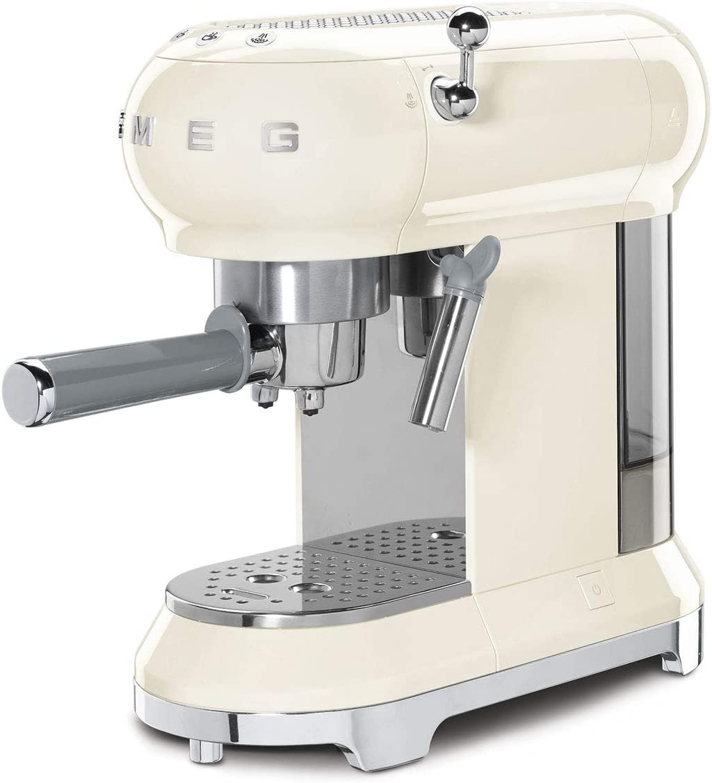 Smeg ECF01CRUK Traditional Pump Espresso Coffee Machine, Adjustable Cappuccino System, Flow Stop Function, Removable Drip Tray, Anti Drip System,