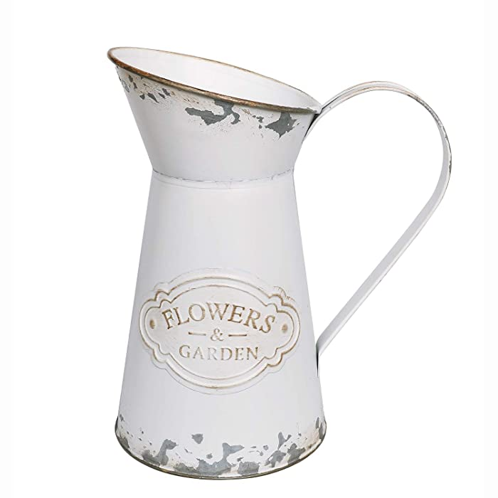 APSOONSELL Rustic Shabby Chic Vase Small Metal Vase Vintage Milk Jug Mini Pitcher Decorative Flower Vase Farmhouse Decor for Home, Kitchen, Bathroom