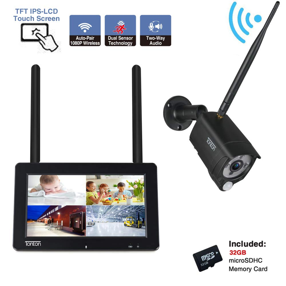 Tonton 1080P Portable Wireless LCD Security Camera System with 7'' IPS Touchscreen Monitor, 4CH NVR Kit and 2.0MP 2-Way Audio Camera with PIR Sensor,Rechargeable Battery, 32GB SD Card Preinstalled
