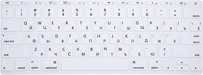 White Russian//English Cyrillic HRH Russian Letter Keyboard Cover Protector for MacBook Air 11.6 Inch Macbook 11 A1465 A1370 USA Keyboard Layout Silicone Skin