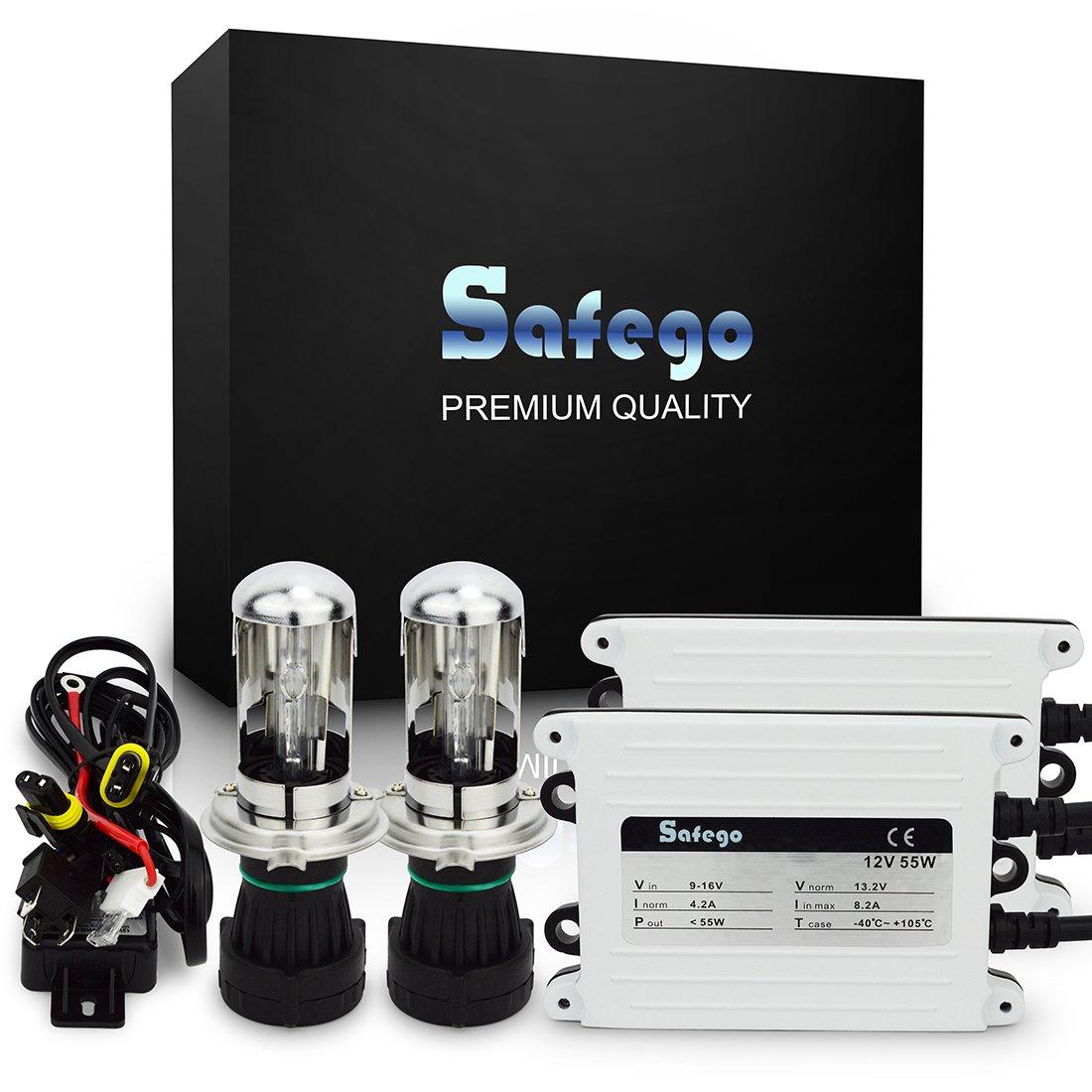 Safego Ac 55W H4 Xenón Hid Kit Luz de Xenon Headlight Lámpara Kit de Conversión Bombilla