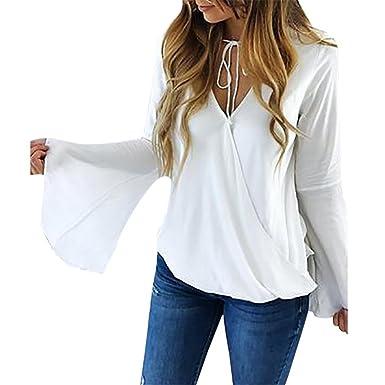 Moonuy Damen Long Flare Sleeve Pullover, Weiß Chiffon V-Ausschnitt Strap  Basic Bluse Casual a3219bcac8