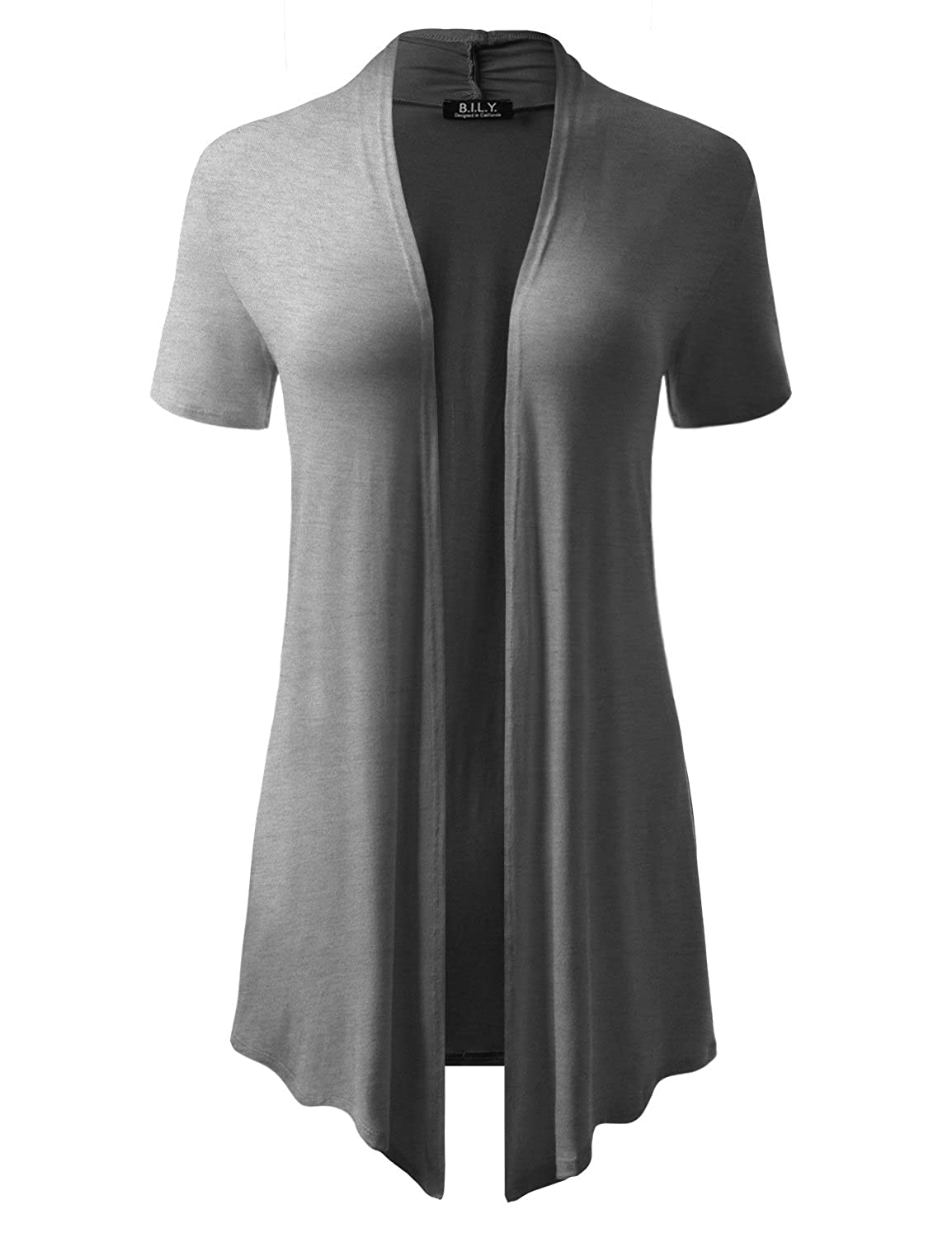 BH B.I.L.Y USA Women's ShortSleeve Open Front Drape Cardigan with Side Pockets Heather Grey Large
