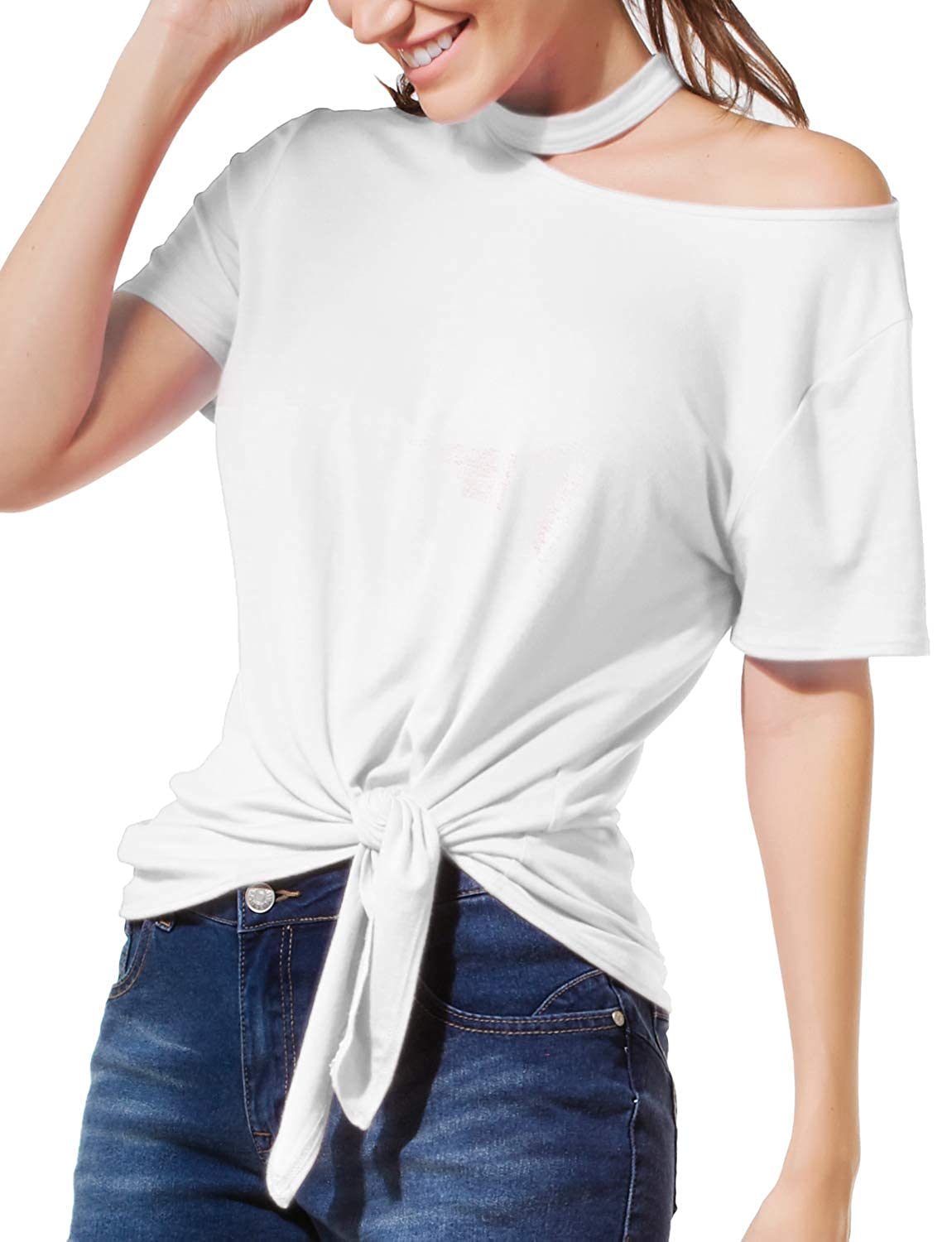 LE3NO Womens Casual Basic Cut Out Short Sleeve Front Self Tie Top Jersey T Shirt