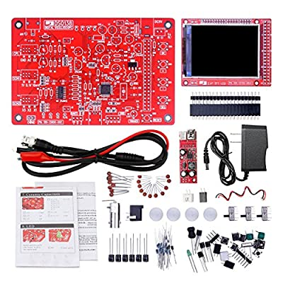 """JYETech Handheld Pocket-size 2.4"""" TFT Display DSO138 Oscilloscope DIY Kit with Acrylic Protective Shell Cover,Charger Adapter and DC Bosst Converter,DIY Parts and Probe are Included"""