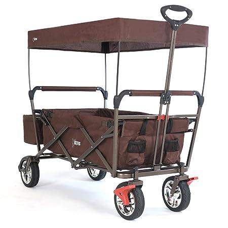 Fuxtec Faltbarer Bollerwagen FX-CT500 braun klappbar mit Dach, Vorderrad-Bremse, Vollgummi-Reifen, Hecktasche, für Kinder gee