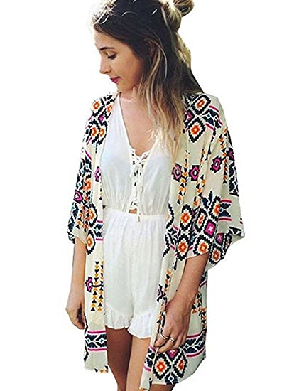 2bbef13a92e09 Womens Chiffon Beach Cover up Long Sleeve Summer Cardigans Swimwear  Swimsuits Bathing Suits Cover Ups Beach
