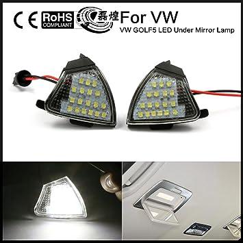 leihuang 2 x error libre LED espejo lateral Charco Luz VW Golf 5 Mk5 MKV Passat B6 Jetta EOS: Amazon.es: Coche y moto