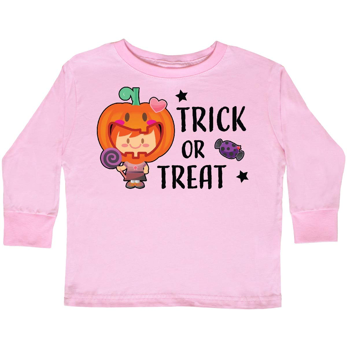 inktastic Trick or Treat Girl with Pumpkin and Red Toddler Long Sleeve T-Shirt