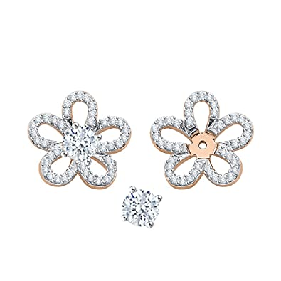8398ae34a Amazon.com: KATARINA Diamond Floral Earring Jackets in 10K Rose Gold (1/3  cttw) (Color GH, Clarity I2-I3): Jewelry