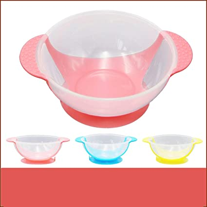 Deniseonuk Baby Bowl Slip-Resistant Tableware Set Infants feeding Bowl With Sucker and Temperature Sensing Spoon Suction Cup