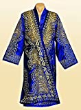 STUNNING UZBEK GOLD SILK EMBROIDERED UNISEX ROBE CHAPAN FROM BUKHARA A7837