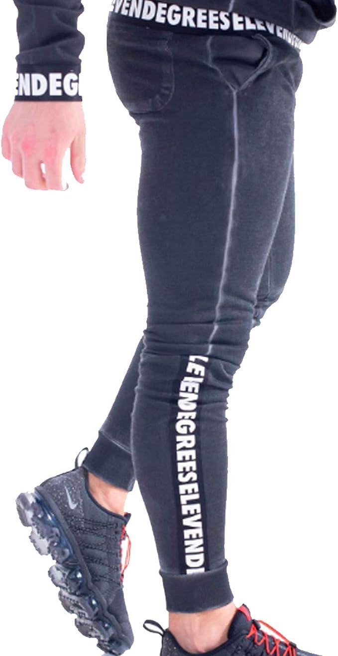 11 Degrees Pantalon Chandal Negro Claro Gym Skinny (L): Amazon.es ...