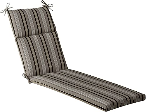 Pillow Perfect Outdoor Indoor Getaway Stripe Onyx Chaise Lounge Cushion, 72.5 x 21 , Black