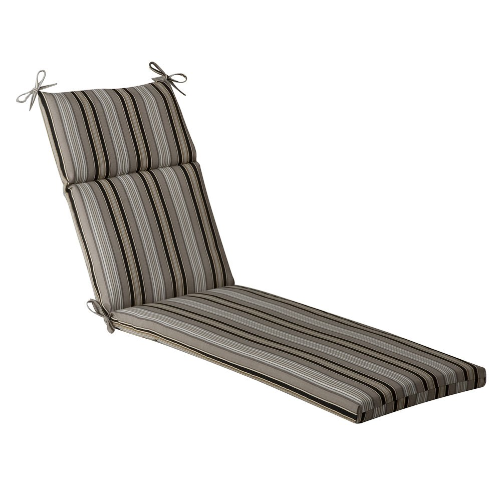 Pillow Perfect Indoor Outdoor Striped Chaise Lounge Cushion, 72.5 in. L X 21 in. W X 3 in. D, Black Beige