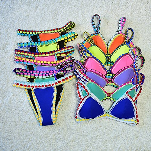 Womens Handmade Triangle Bikini Set Crochet Neoprene Swimwear