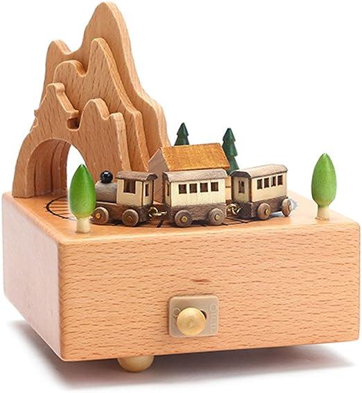 caja de música de madera con tren en movimiento cuerda caja ...