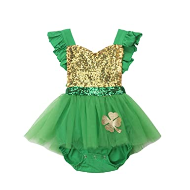 342bc660d Amazon.com: Newborn Baby Girls 1st ST Patrick's Day Outfit Green Sequin  Romper Dress Ruffled Halter Bodysuit Tutu Dress 0-24M: Clothing