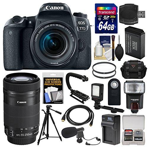 Canon EOS 77D Wi-Fi Digital SLR Camera & EF-S 18-55mm + 55-2