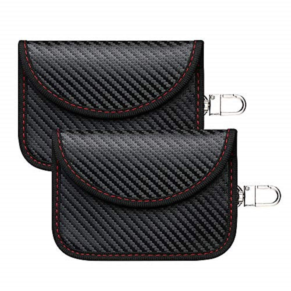 Bolsa de Faraday con Dise/ño de Gancho flintronic/® Car Key Case Bolsa para Bloqueo de Se/ñal de Llave de Coche 2PCS - Negro 2 Cuerda Adicional Incluida Bloqueador RFID para Llaves de Autom/óvil