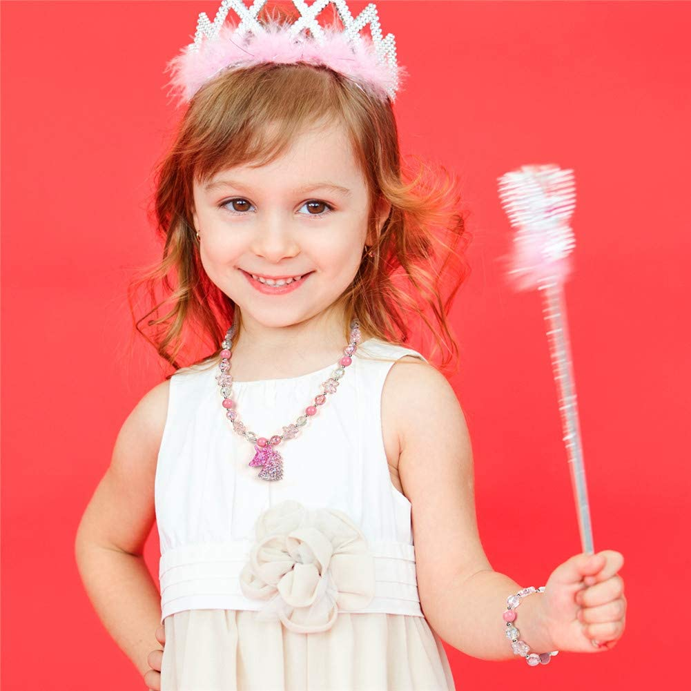Unicorn Rainbow Jewelry Sets,Toddler Girls Unicorn Necklace Bracelet,Little Girls Chunky Bubblegum Beads Necklace Pink