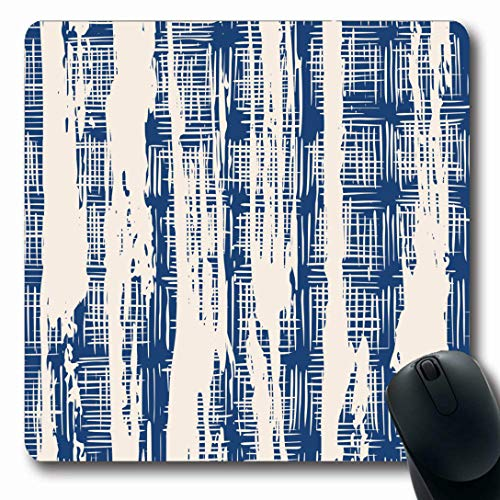 (Ahawoso Mousepads for Computers Stripes Watercolor Pattern Indigo Tie Dye Organic Nature Blue Kimono Shibori Abstract Batik Natural Oblong Shape 7.9 x 9.5 Inches Non-Slip Oblong Gaming Mouse Pad)