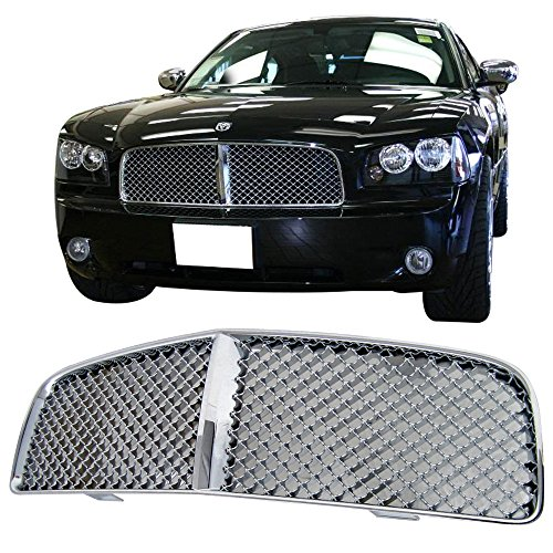 Chrome Mesh Bentley Grille (05-10 Dodge Charger Bentley Style Mesh Front Hood Grille Chrome)
